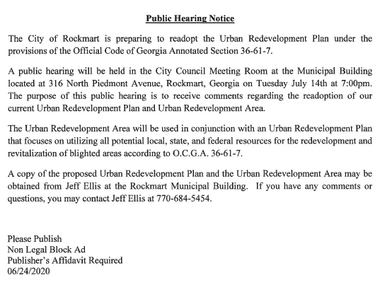 Public Hearing Notice - July 14, 2020