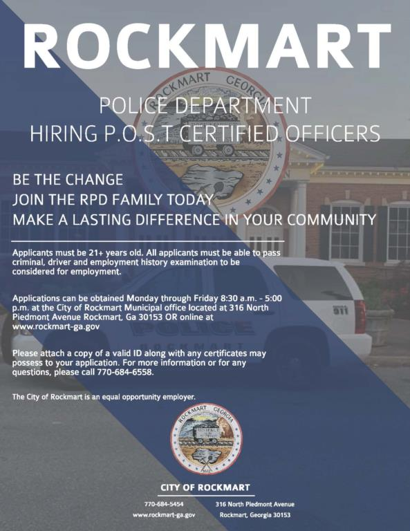 Employment Opportunity - P.O.S.T Certified Officers