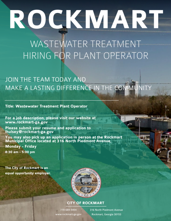 Employment Opportunity - Wastewater Treatment Plant Operator